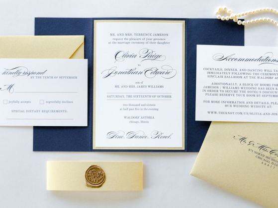 Navy Blue Gold Shimmer Ivory Wedding Invitation Gold Wax Seal