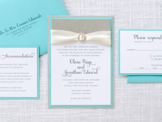 Formal Rhinestone Silver Glitter Turquoise Tiffany White Wedding Invitation Suite
