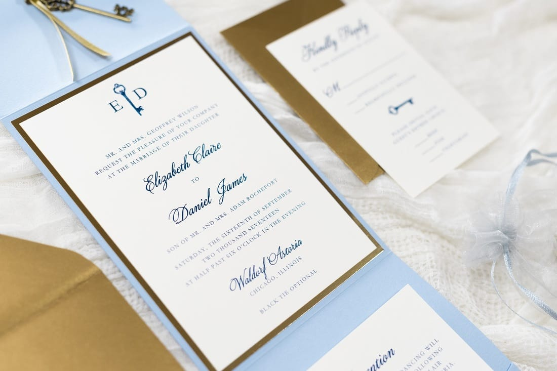 Vintage Key Charm Wedding Invitation In Serenity Blue Antique Gold