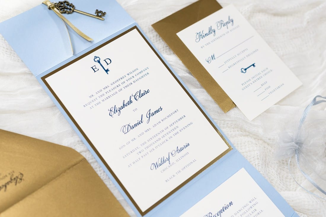 pale blue, antique gold, and ivory wedding invitation with vintage key charm - pale blue, serenity blue, ivory, antique gold, and gold foil