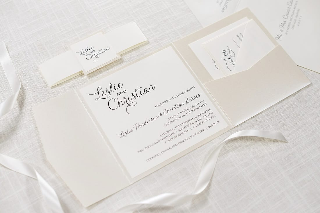 ... Opal Shimmer Square Wedding Invitation. Pictured Envelope Colors: Ivory  Pictured Paper Colors: Ivory And Opal Pictured Pocketfold Color: Opal