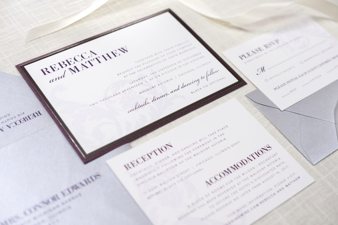 silver foil ornate and formal wedding invitation in white, merlot, and silver shimmer