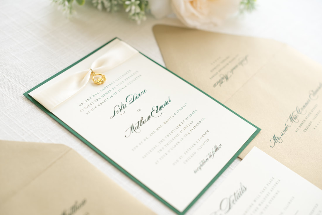 elegant & formal irish wedding invitation with satin ribbon and ...