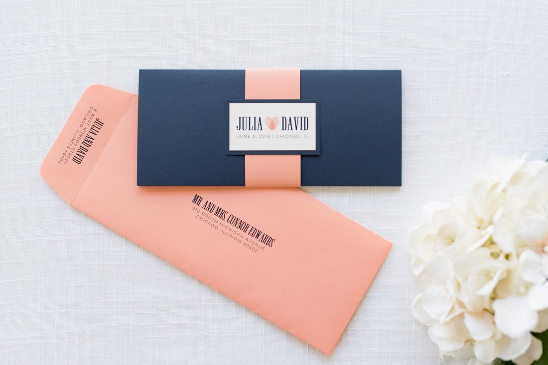 Blue And Coral Wedding Invitations: Navy Blue, Coral, And Ivory Wedding Invitation With
