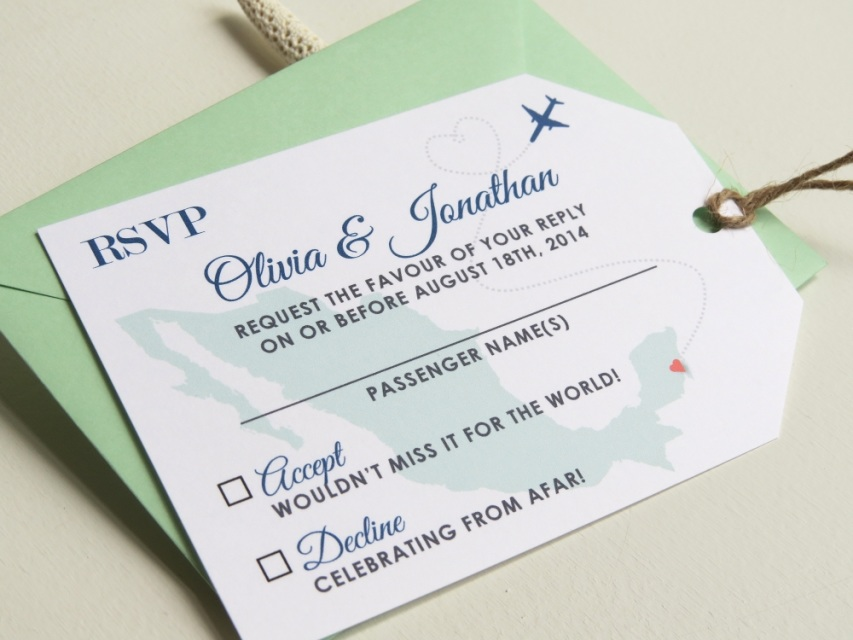 Deposit Custom Design Passport And Luggage Tag Rsvp Card