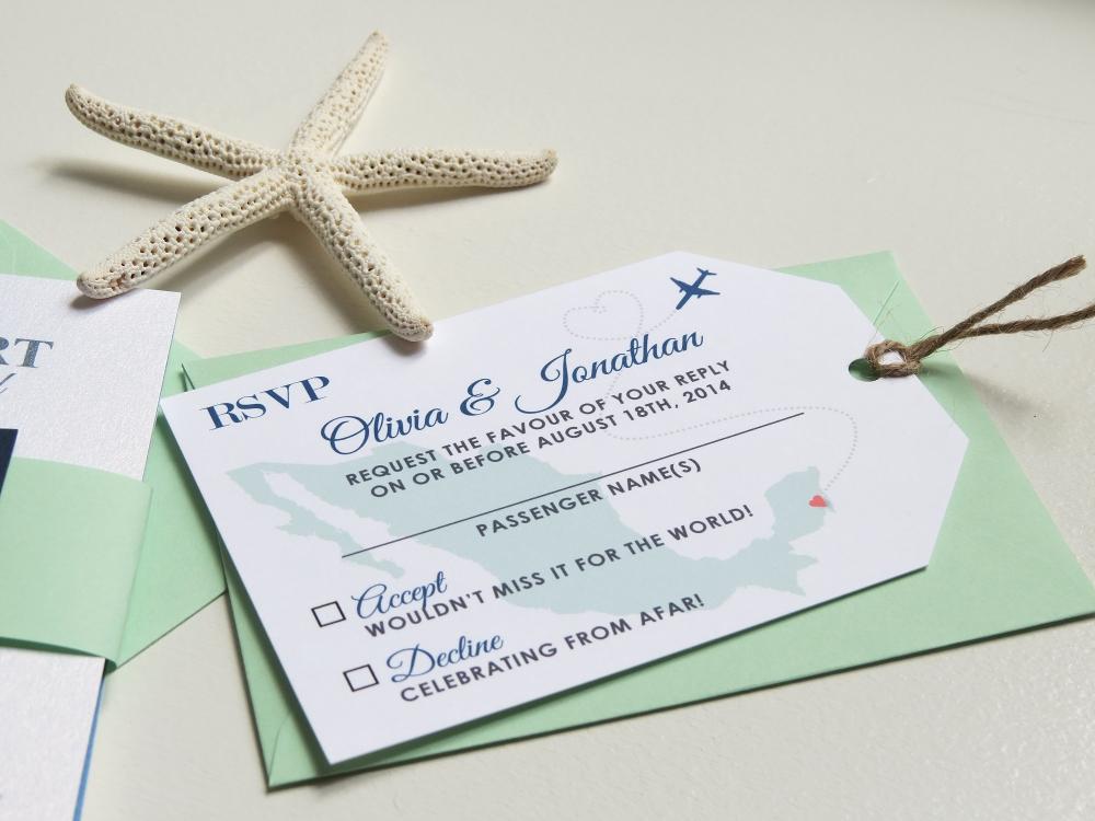 passport and luggage tag rsvp card destination wedding invitation set