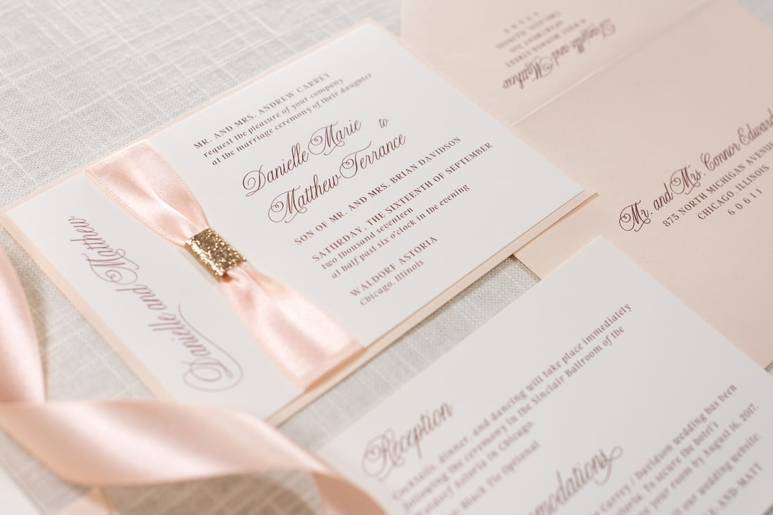blush shimmer rose gold glitter blush ribbon and ivory wedding invitation suite formal - Blush Wedding Invitations