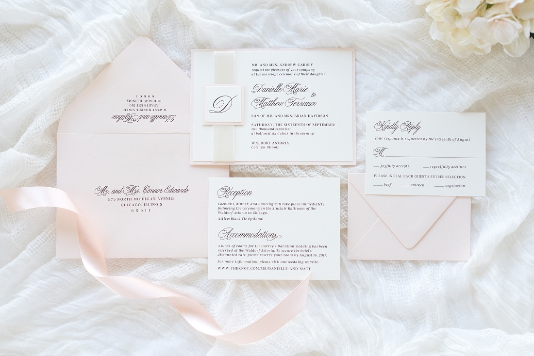 Blush and Ivory Wedding Invitations, Save The Dates, Thank You Cards ...
