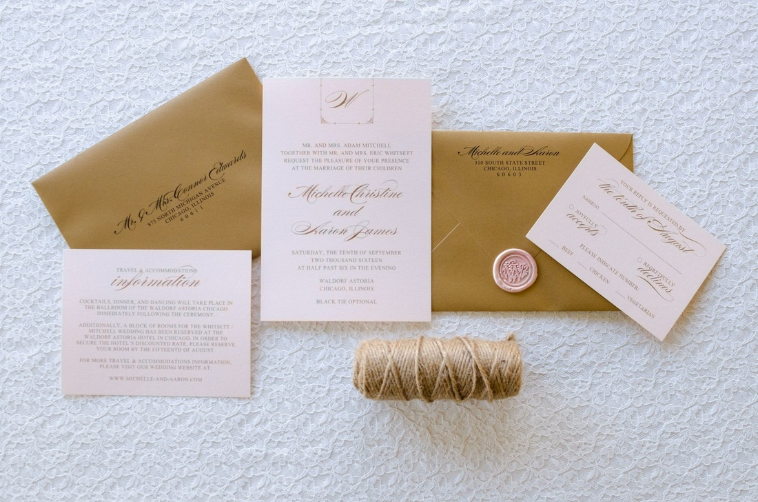 Blush Shimmer and Gold Foil Wedding Invitation with Rose Gold Wax ...
