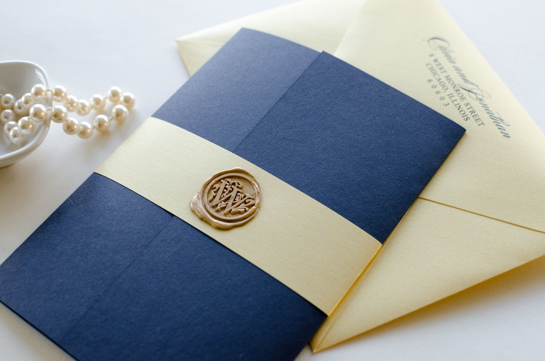 Navy Blue, Gold Shimmer, and Ivory Wedding Invitation with Gold Wax ...