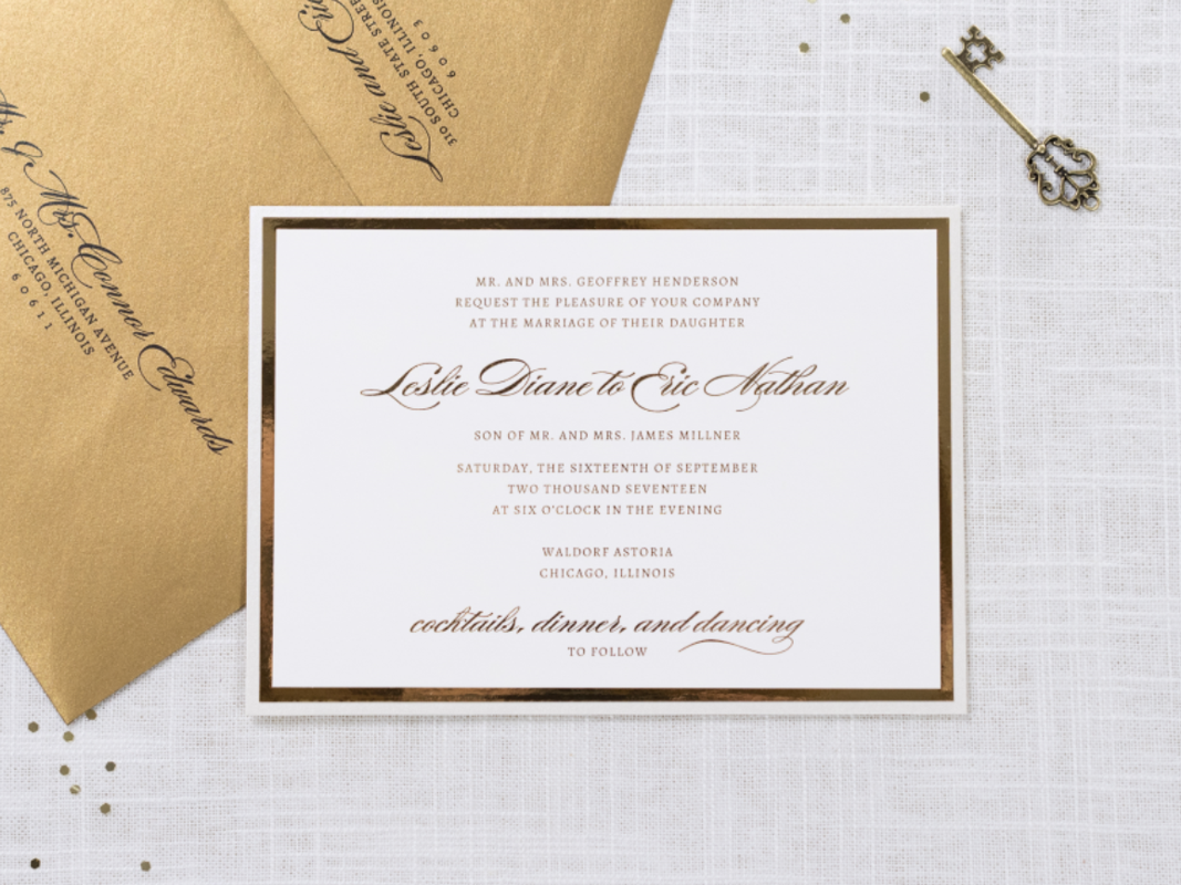 Elegant and Formal Luxury Wedding Invitation in Champagne, Gold Foil, and Ivory with Belly Band - Chicago Wedding Invitations