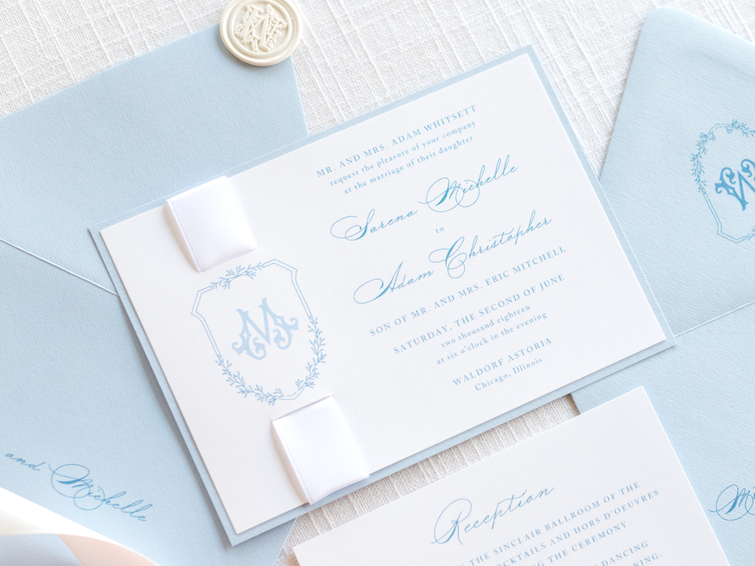 Elegant and Formal Monogram Crest Wedding Invitation with Satin Ribbon and Wax Seal Embellishment in White, Pale Blue, French Dusty Blue