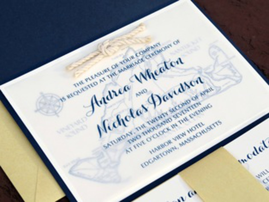 NAVY BLUE, GOLD SHIMMER, AND IVORY WEDDING INVITATION SET WITH A NAUTICAL KNOT AND MAP OF MARTHA'S VINEYARD