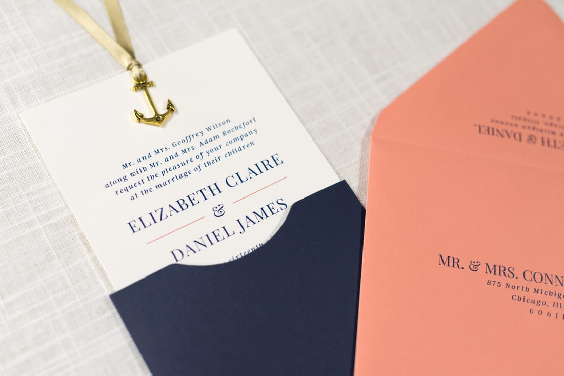 Sliding Wedding Invitation with Anchor Charm Embellishment in Ivory ...