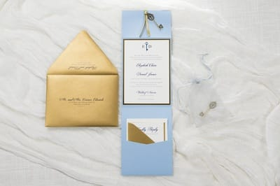 elegant and formal pale blue, antique gold, and ivory pocket fold wedding invitation with vintage key charm - pale blue, serenity blue, ivory, antique gold, and gold foil - chicago wedding invitations