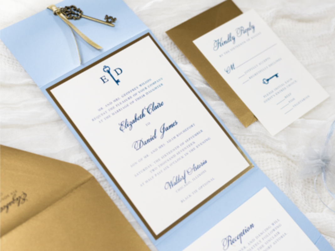 ELEGANT AND FORMAL PALE BLUE, ANTIQUE GOLD, AND IVORY POCKET FOLD WEDDING INVITATION WITH VINTAGE KEY CHARM - PALE, SERENITY BLUE, IVORY, ANTIQUE GOLD, AND GOLD FOIL
