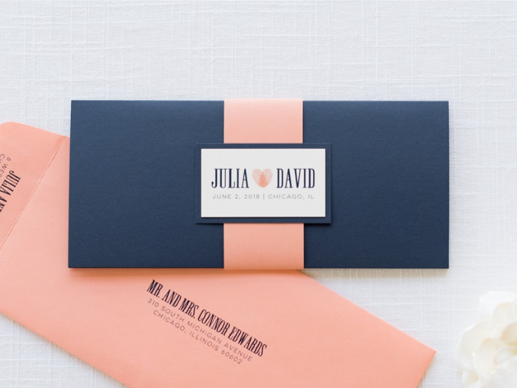 Modern and Elegant Rectangle Folding Wedding Invitation in Navy Blue, Coral, and Ivory with Thumbprint Heart Monogram Design and Belly Band