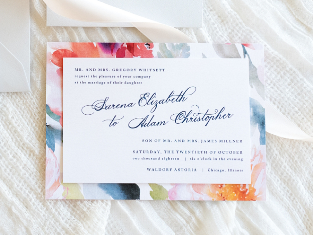 floral layered wedding invitation in white, light dusty blue, cool gray with spring/summer botanical print