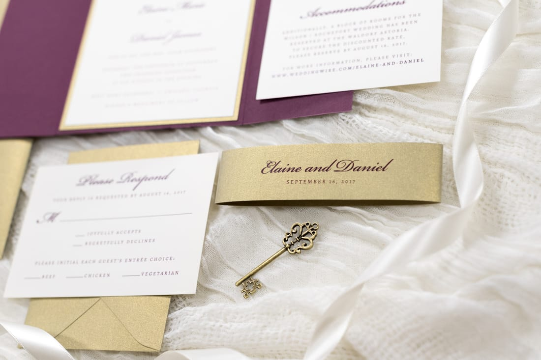 gatefold wedding invitation with vintage style cameo silhouette ...