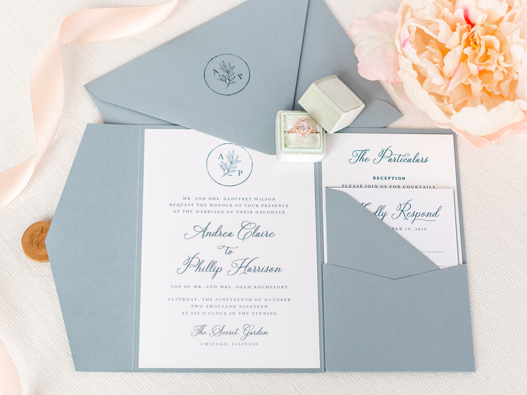 charisma-white-french-blue-dusty-blue-wax-seal-pocketfold-invitation-second-city-stationery