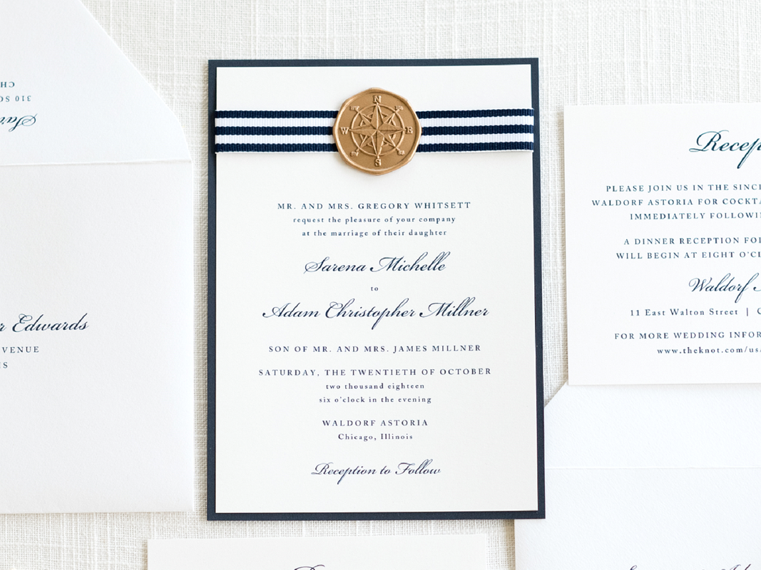 CLASSIC NAUTICAL WEDDING INVITATION WITH NAVY BLUE STRIPE RIBBON AND GOLD COMPASS WAX SEAL - WHITE, NAVY BLUE, AND GOLD