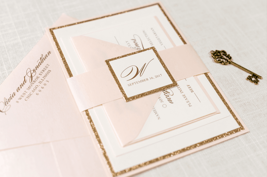 Rose Gold Glitter, Blush Shimmer, and Ivory Wedding Invitation Suite ...