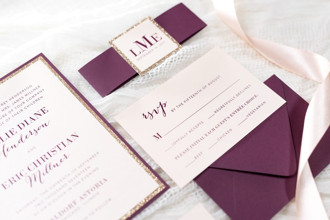 Elegant Formal And Modern Blush Shimmer Rose Gold Glitter And Wine Burgundy Wedding Invitation With Belly Band And Monogram Square Chicago Wedding Invitations Second City Stationery Beautiful Invitations