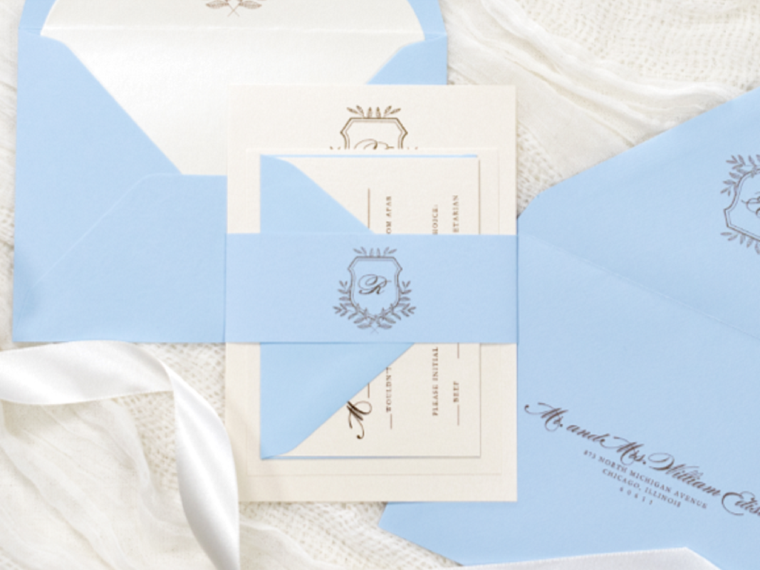 Elegant and Formal Wedding Invitation with Floral Foliage Branch Wedding Crest Monogram - Belly Band, Envelope Liner, and Inner Outer Envelope - Light Blue, Opal Champagne Shimmer