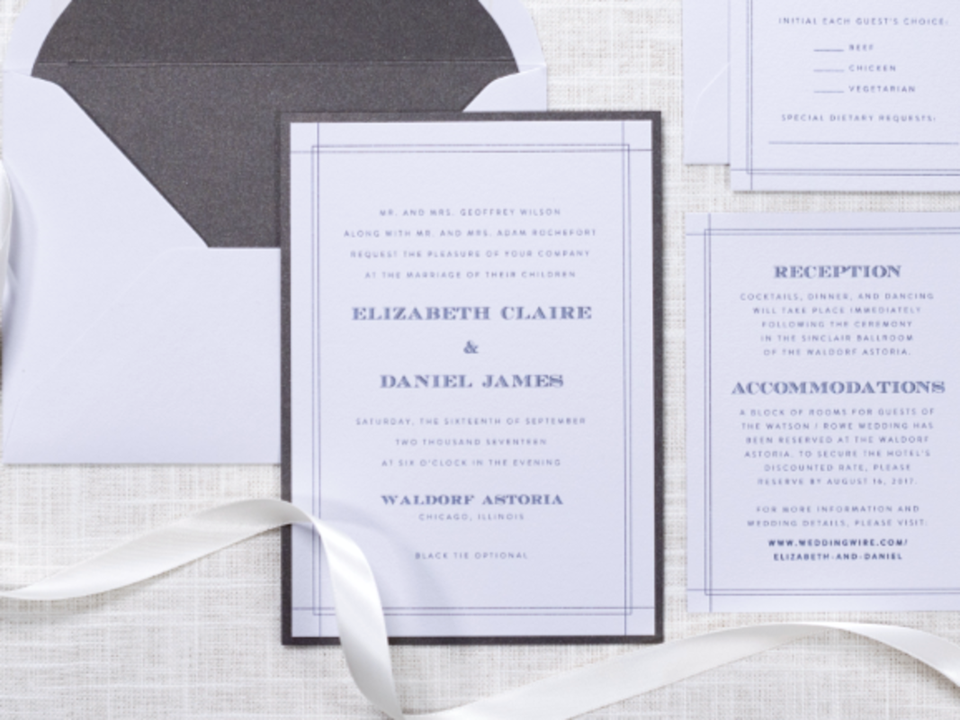 MODERN AND ELEGANT WEDDING INVITATION IN COOL GREY AND DARK GREY SHIMMER