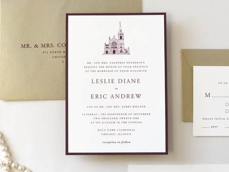 Holy Name Cathedral Chicago Elegant Formal Layered Wedding Invitation with Church Venue Illustration - Shown in Ivory, Burgundy Maroon, and Gold Leaf