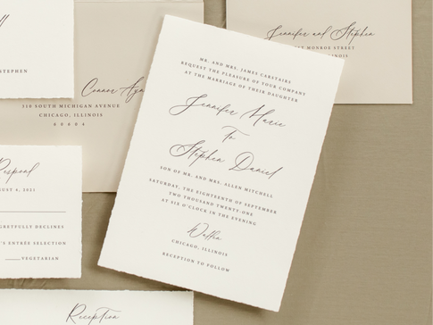 Walden Chicago Venue Elegant Formal Romantic Wedding Invitation Hand Torn Deckle Edge Paper Modern Calligraphy Script Design