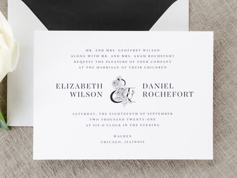 Walden Chicago Venue Collection Modern and Formal Black White and Silver Wedding Invitation with Botanical Floral Ampersand Monogram Design with Envelope Liner - Black White Grey