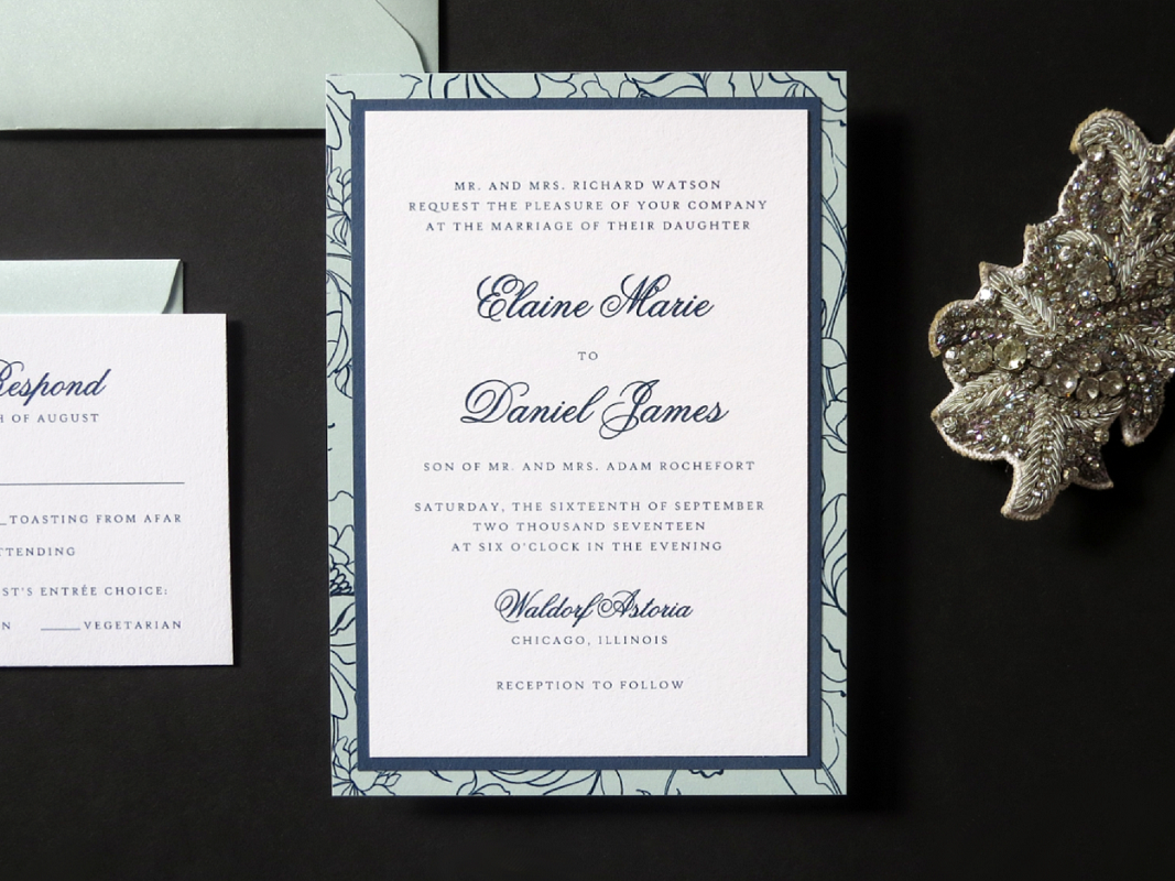 ELEGANT AND FORMAL DELICATE FLORAL DESIGN LAYERED WEDDING INVITATION IN WHITE, AQUA, AND NAVY WITH ENVELOPE LINER