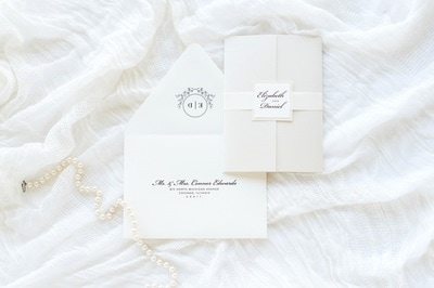 elegant & formal layered gatefold wedding invitation in cream, ivory, opal / champagne shimmer with ribbon belly band and monogram square - chicago wedding invitations