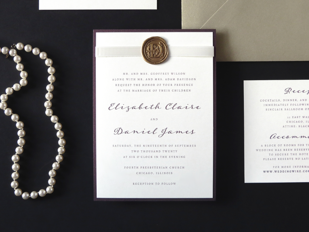 ELEGANT AND FORMAL WAX SEAL WEDDING INVITATION IN IVORY, GOLD, AND MERLOT METALLIC WITH RIBBON AND WAX SEAL EMBELLISHMENT