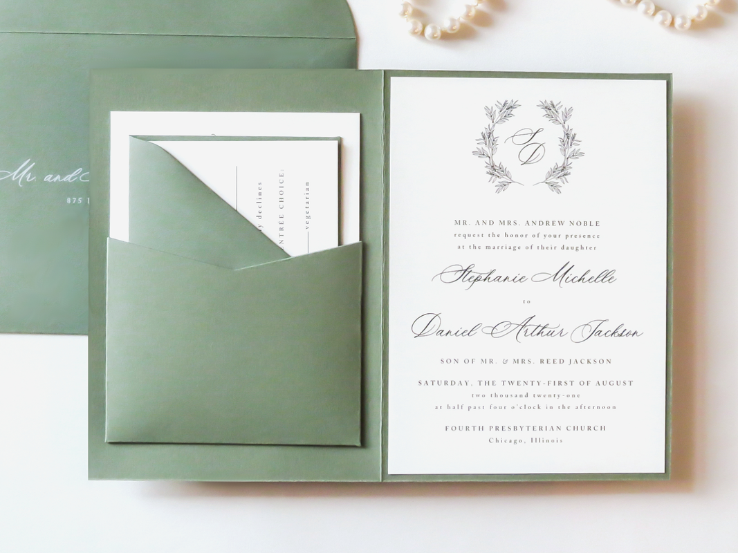 Elegant Formal Wedding Invitation Folding with Pocket Wreath Monogram Crest - Romantic Calligraphy Script - Green Foliage Green Ivory