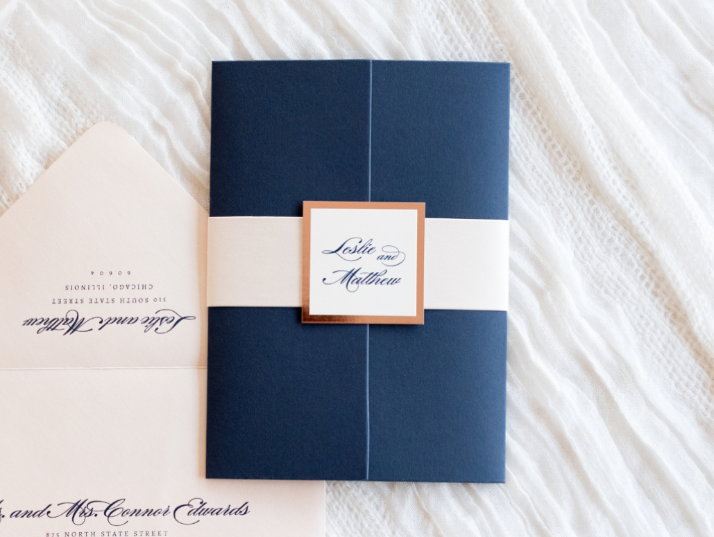 Elegant Amp Formal Wedding Invitation In Navy Blue Blush