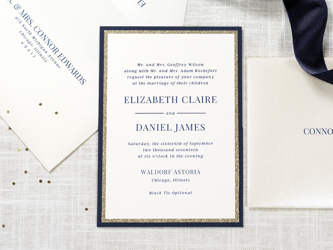 Elegant, Formal, and Modern Panel Pocket Wedding Invitation - Layered with Ivory, Gold Glitter, Navy Blue, and Opal Champagne