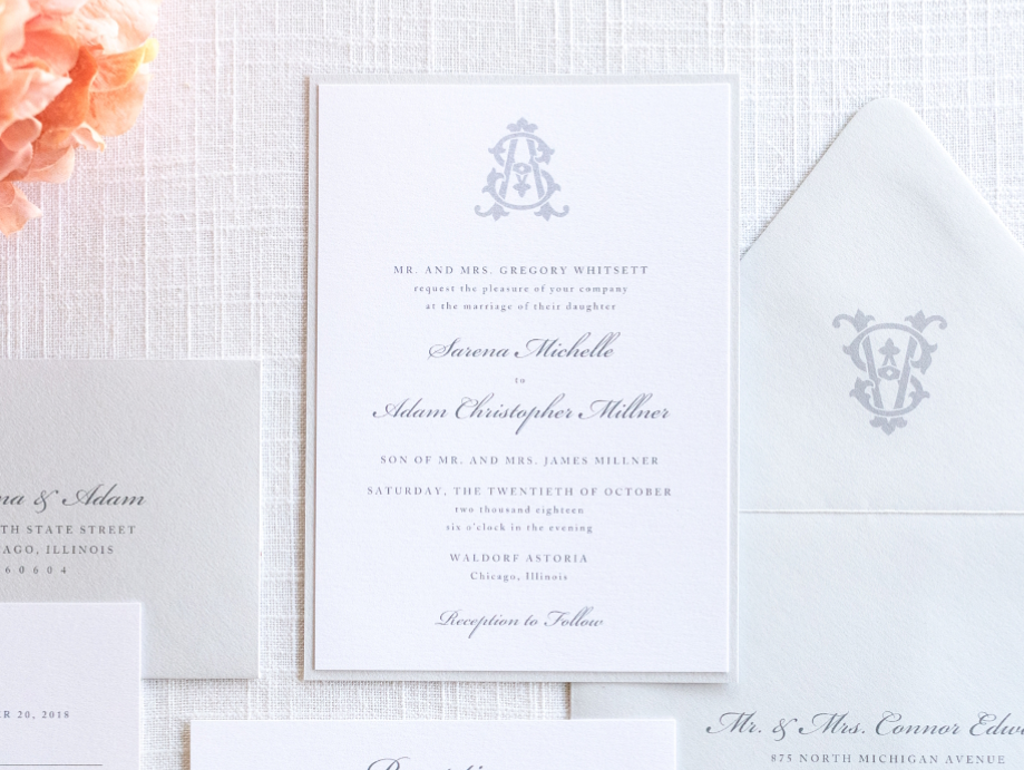 Elegant Monogram Wedding Invitations: Elegant & Formal Wedding Invitation With Monogram Crest