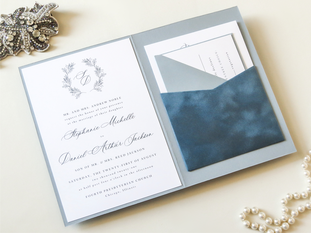 Elegant Romantic Formal Wedding Invitation Folding Velvet Pocket - Dusty French Blue White Wreath Monogram Crest - Romantic Calligraphy Invite