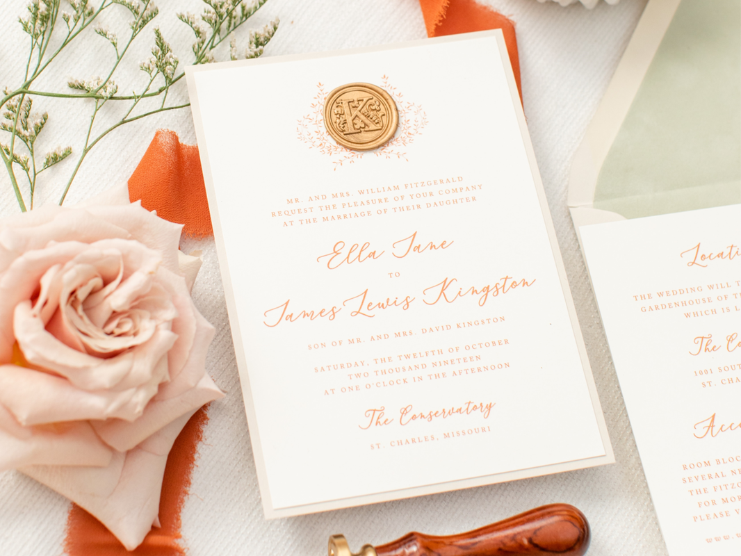 Pictureexuberant-ivory-gold-wax-seal-floral-laurel-wreath-design-monogram-velvet-envelope-liner-crest-wedding-invitation