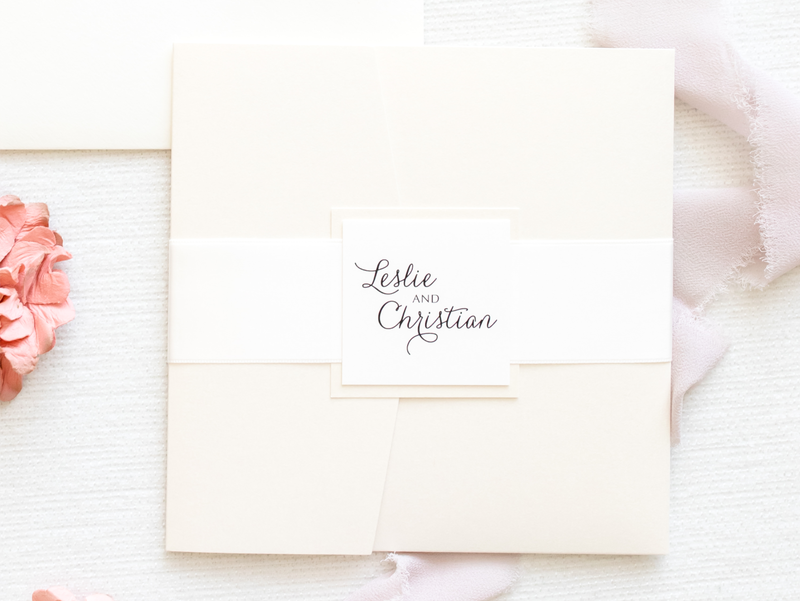 elegant & formal layered square pocket wedding invitation in cream, ivory, opal / champagne shimmer with belly band and monogram square - chicago wedding invitations
