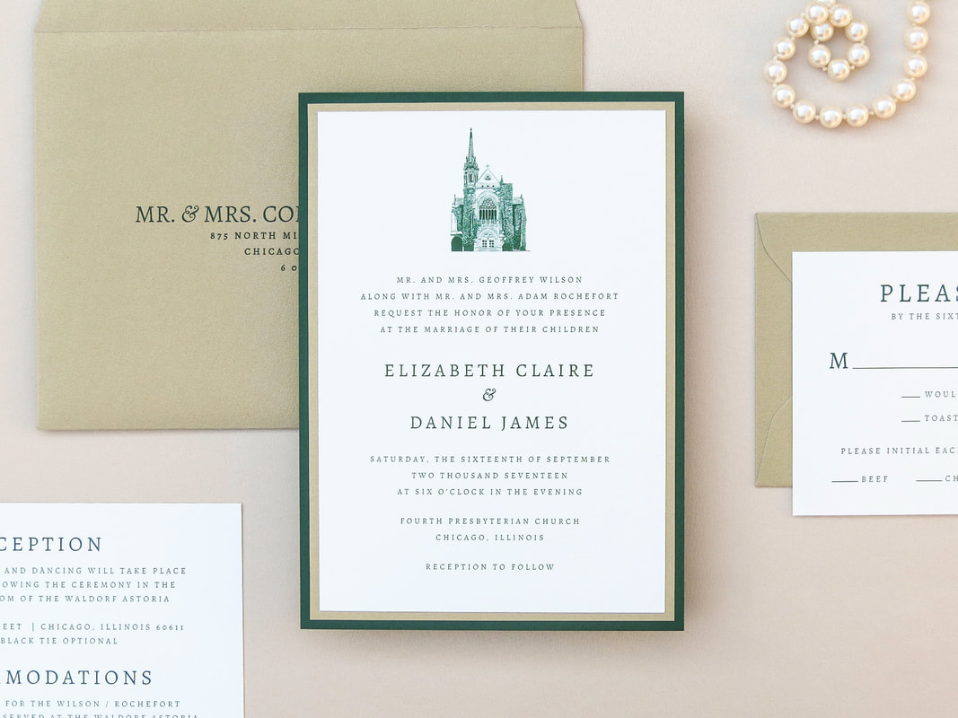 Elegant Formal Layered Wedding Invitation Fourth Presbyterian Church Chicago with Church Venue Illustration - Shown in Ivory, Forest  Emerald Hunter Green, and Gold Leaf