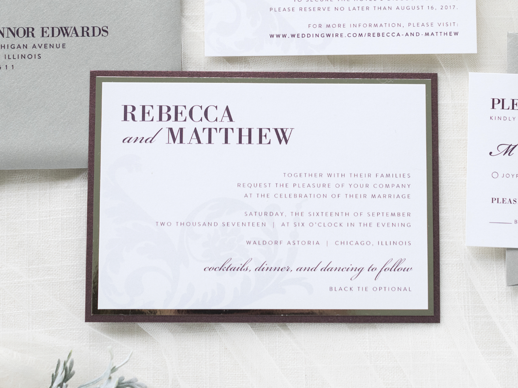 ELEGANT FORMAL SILVER FOIL ORNATE AND FORMAL WEDDING INVITATION IN WHITE, BURGUNDY MERLOT, AND SILVER SHIMMER WITH FILIGREE DAMASK DESIGN
