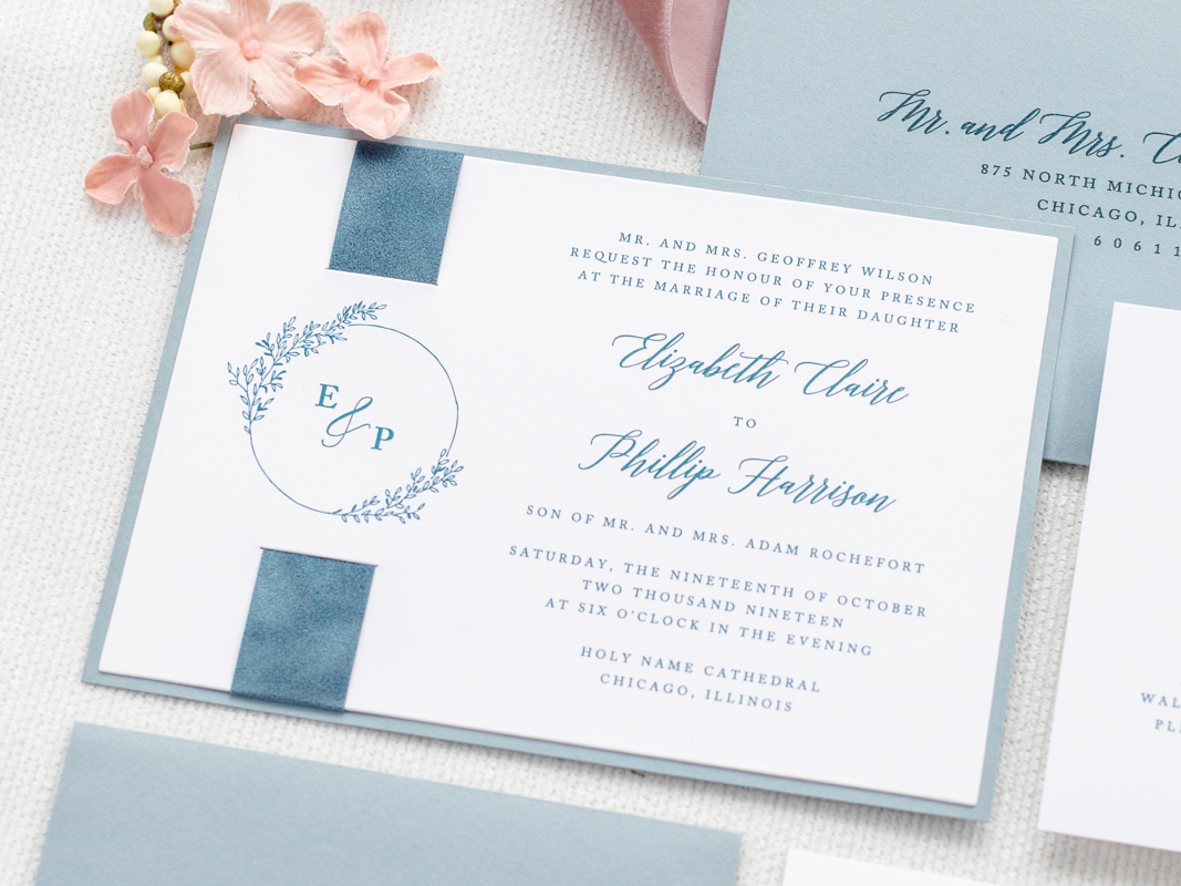 hampton-thumbnail-dusty-blue-french-blue-velvet-ribbon-band-wedding-invitation-with-floral-foliage-monogram-crest_2
