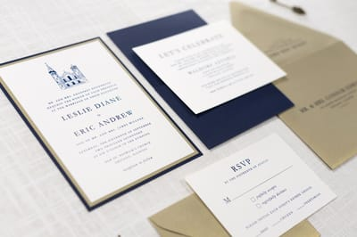 elegant and formal layered panel pocket wedding invitation with church illustration in ivory, gold, and navy blue - old st. patrick's church - chicago