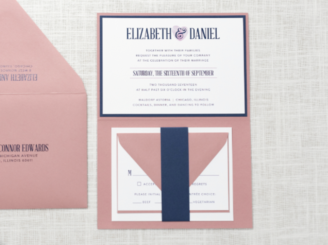 ELEGANT, MODERN, AND FORMAL LAYERED FOLDING WEDDING INVITATION WITH THUMBPRINT HEART MONOGRAM DESIGN IN WHITE, DUSTY ROSE, AND NAVY BLUE WITH BELLY BAND
