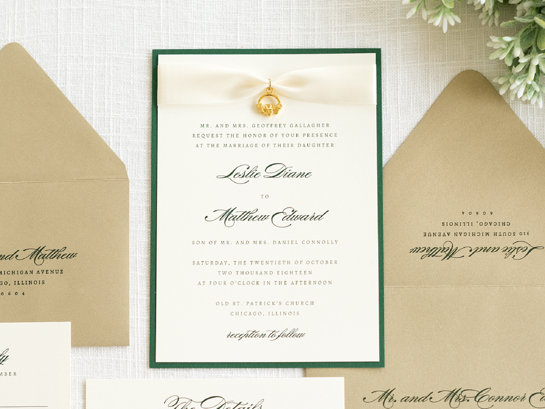 Elegant and Formal Irish Wedding Invitation with Satin Ribbon and Claddagh Celtic Charm Embellishment - Celtic, Claddagh, Irish Wedding