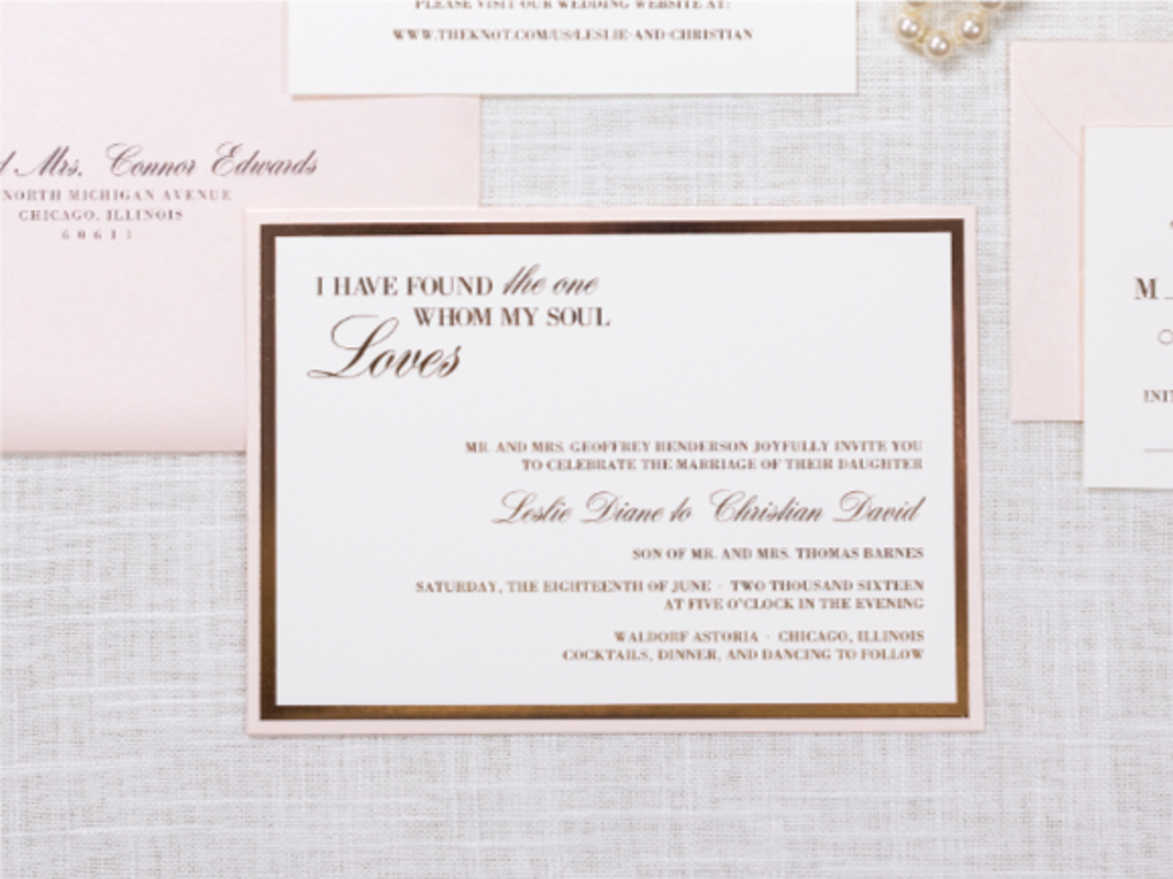 ROSE GOLD FOIL, IVORY, GOLD, AND BLUSH SHIMMER WEDDING INVITATION WITH ROSE GOLD FOIL BORDER
