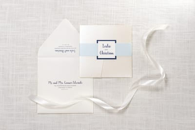 elegant, formal, and modern square pocket fold wedding invitation in ivory, champagne / opal shimmer, aqua, and navy with belly band and monogram square - chicago wedding invitations